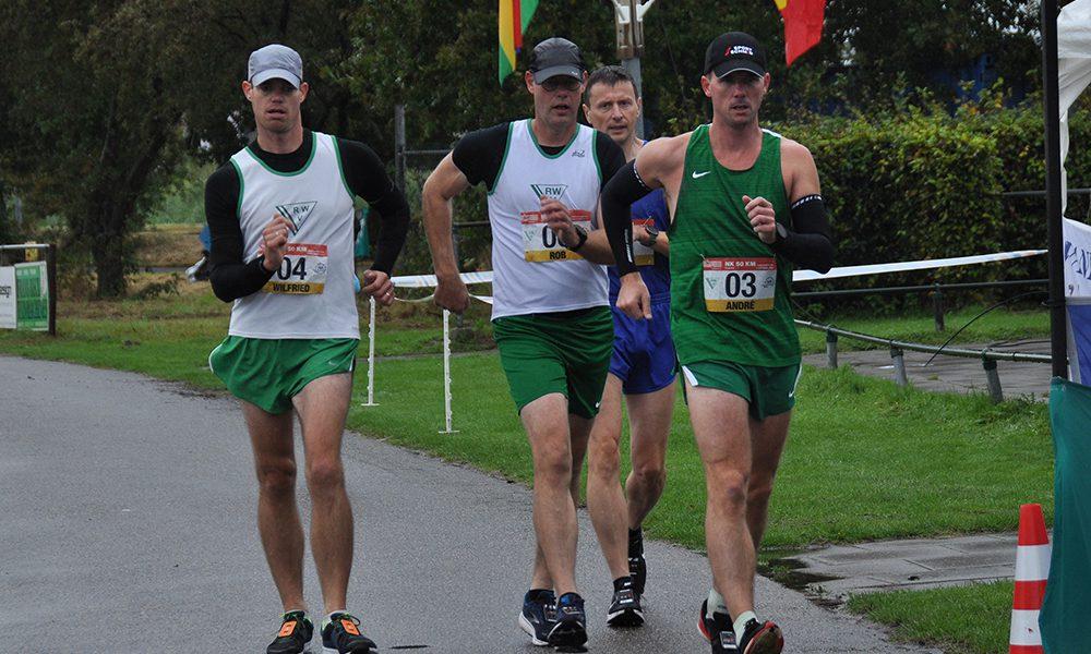 NK 50 km snelwandelen Wilfried van Bremen, Rob Tersteeg, Peter Van Hove en Christen Svensen